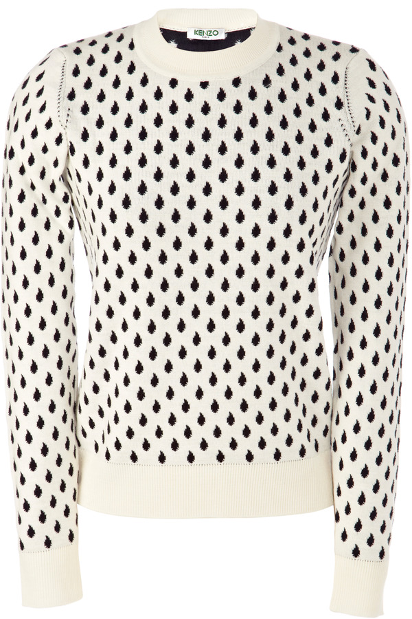 Kenzo Cotton-Blend Raindrop Fitted Sweater