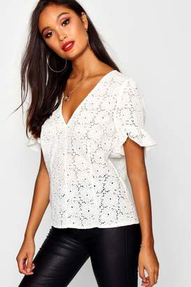boohoo Broderie Anglaise Cotton V Neck Blouse