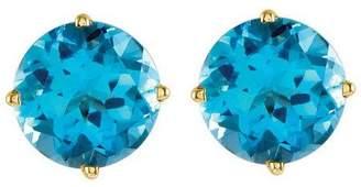 Large Round Gemstone Stud Earrings, 14K Gold