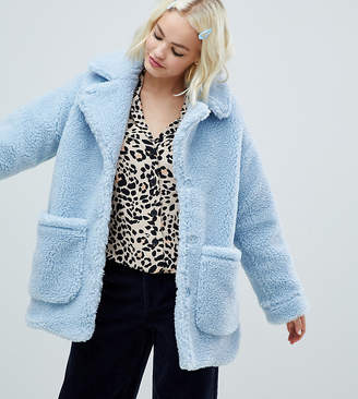 Monki oversized teddy jacket in light blue