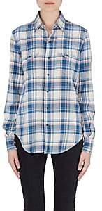 Saint Laurent Women's Checked Cotton-Blend Flannel Western Shirt-Blue