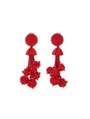 Oscar de la Renta Multi Bead Tassel Earrings