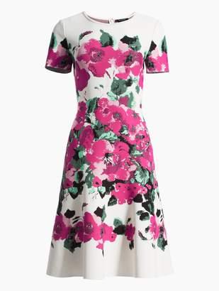 St. John Vibrant Blooming Jacquard Short Sleeve Fit & Flare Dress
