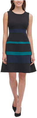 Tommy Hilfiger Scuba Crepe Colorblock Swing Dress