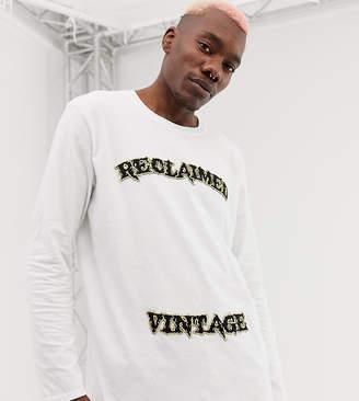 Reclaimed Vintage inspired varsity logo long sleeve t-shirt in white