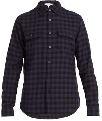 Frame Gingham Cotton Shirt - Mens - Navy