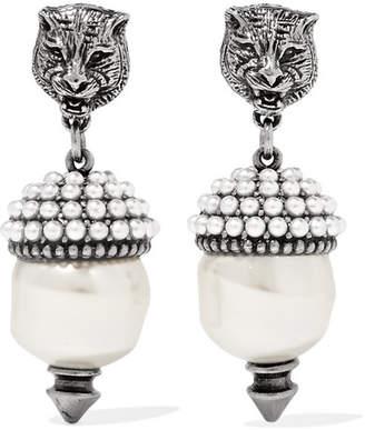 Gucci Silver-tone Faux Pearl Earrings