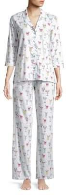 PJ Salvage Three-Piece Eye Mask, Top and Bottoms Pajama Set