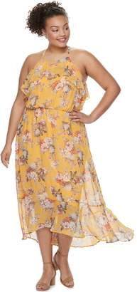 Juniors' Plus Size Lily Rose Ruffled Floral Halter Maxi Dress