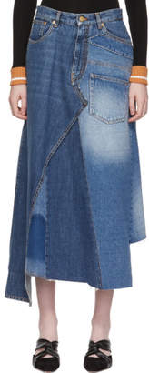 Loewe Blue Denim Patchwork Skirt