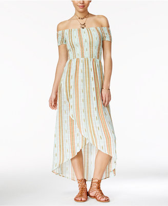 American Rag Striped Off-The-Shoulder Tulip-Front Maxi Dress, Created for Macy's $69.50 thestylecure.com