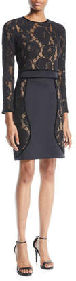 Tadashi Shoji Long-Sleeve Floral Lace & Neoprene Dress