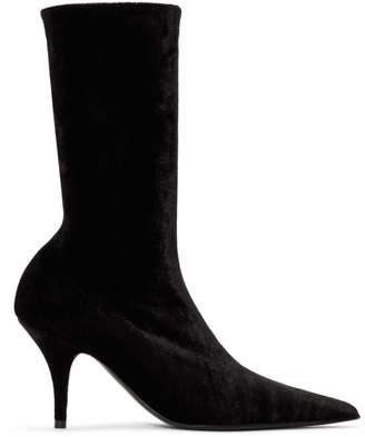Balenciaga Black Velvet Knife Boots
