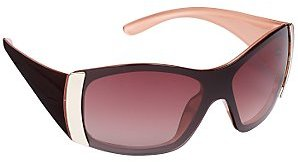 John Lewis Women's Mask Sunglasses, Brown/Pink, One Size