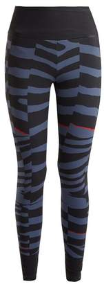 adidas by Stella McCartney Training Miracle Zebra Print Performance Leggings - Womens - Blue Multi