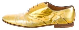Louis Vuitton Metallic Round-Toe Oxfords