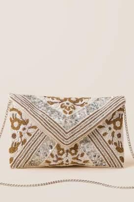 francesca's Lexie Beaded Clutch Crossbody - White