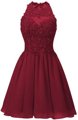 Cdress Short Homecoming Dresses Chiffon Appliques Bodice Cocktail Gowns Junior Prom Evening Dress US