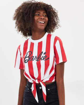 Missguided Barbie x Candy Stripe Knotted T-Shirt