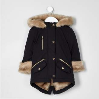 River Island Mini girls black faux fur trim parka coat
