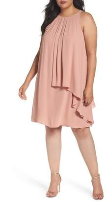 London Times Halter Style Tiered Georgette Shift Dress