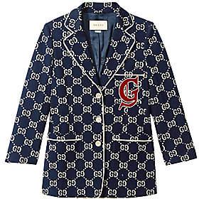 Gucci Women's Long-Sleeve GG Crest Jersey Jacket