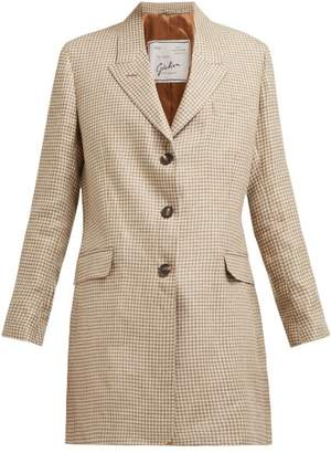 Giuliva Heritage Collection The Karen Single Breasted Checked Linen Blazer - Womens - Brown