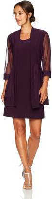 R & M Richards R&M Richards Women's Petite Glitter Trim Jacket Dress