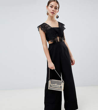 Asos DESIGN Petite Lace Top Jumpsuit With Wide Leg