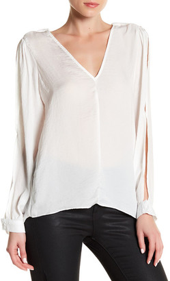 Lucca Couture V-Neck Slit Sleeve Low Back Blouse $57 thestylecure.com