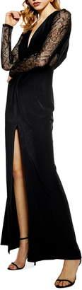 Topshop Long Lace Sleeve Formal Maxi Dress