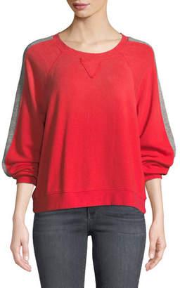 Splendid Oversized Sporty Striped Pullover Sweatshirt