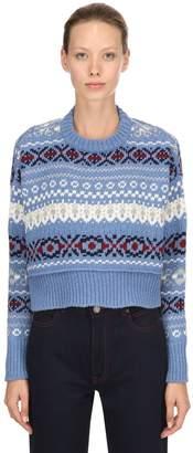 Miu Miu Wool Jacquard Cropped Sweater