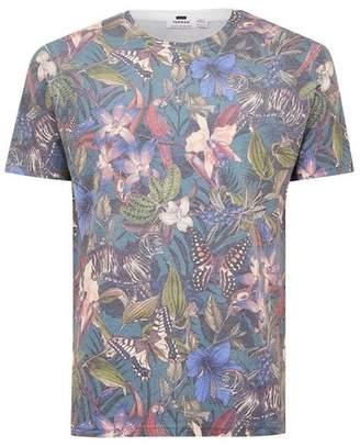 Topman Mens Black Butterfly Print T-Shirt