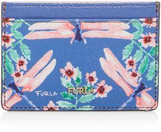 Furla Babylon Floral Print Small Embossed Leather Card Case