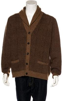 Ralph Lauren Purple Label Plaid Cashmere Cardigan