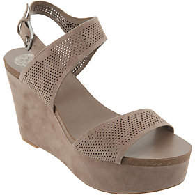 Vince Camuto Nubuck Leather Ankle Strap Wedges- Vessinta