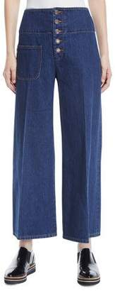 Marc Jacobs High-Waist Wide-Leg Cropped Jeans