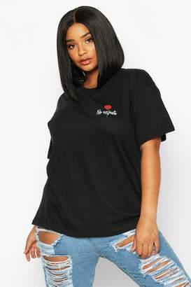 boohoo Plus No Regrets Rose Pocket Print T-Shirt