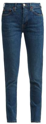 Re/Done Originals Re/done Originals - Double Needle Cropped Straight Leg Jeans - Womens - Dark Blue