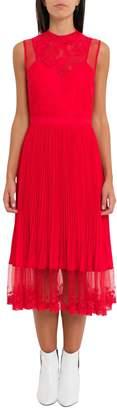 Three floor Lace Pleated Midi Dress
