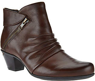 Earth Leather Ankle Boots with Ruching -Pegasus