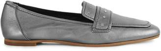 Reiss ELBA METALLIC METALLIC LEATHER LOAFERS Pewter