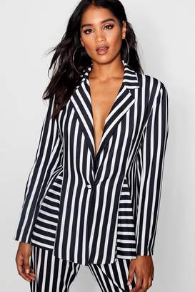 boohoo Jade Stripe Godet Suit Blazer