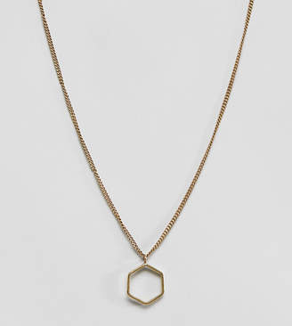 Made cut out hexagon pendant necklace