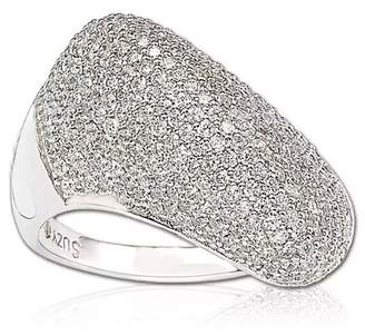 LeVian Suzy Jewelry Sterling Silver Pave CZ Diagonal Puffed Ring