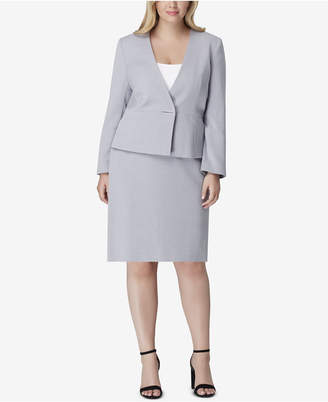 Tahari ASL Plus Size Collarless Skirt Suit