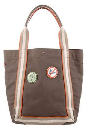 Anya Hindmarch Leather-Trimmed Canvas Tote gold Leather-Trimmed Canvas Tote