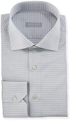 Stefano Ricci Small-Check Spread-Collar Dress Shirt