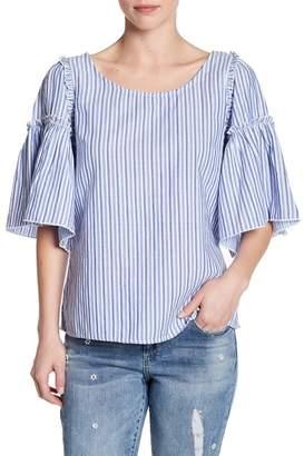 Seven7 Striped Peplum Sleeve Blouse